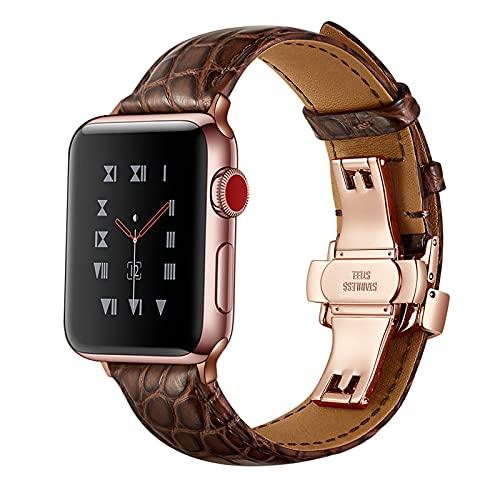 Correa Reloj para Apple Watch Series 1/2/3/4/5/6/SE, Compatibilidad iWatch 38mm 40mm/42mm 44mm con Hebilla de Acero Inoxidable, Cocodrilo Cuero Genuino Correa de Reloj,Brown,42mm/44mm