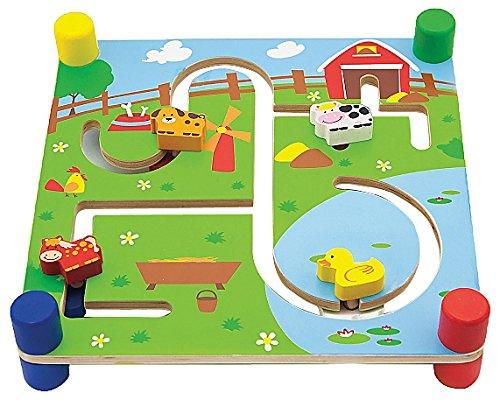 Viga Toys - 50088 - Jouet De Premier Age - Suivre La Piste - Recto Ville - Verso Ferme