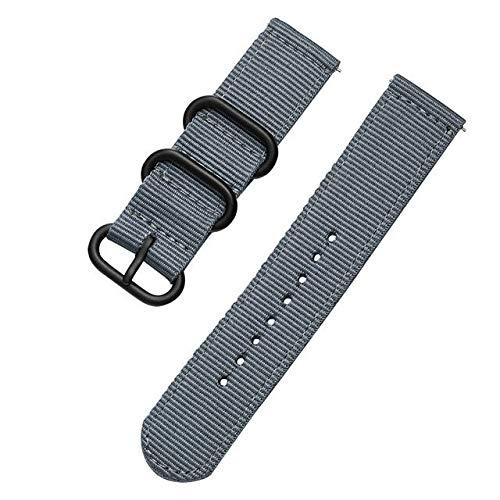 PZZZHF Correa deportiva de tela de nailon de 18 mm, 20 mm, 22 mm, 24 mm, para Samsung Galaxy Watch Band Gear S3, Amazfit GTR GTS para Huawei Watch (color de la correa: gris, ancho de la correa: 18 mm)