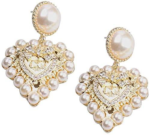ZHENAO Damas Pendientes Hechos a Mano Pearl Shiny Rhinestone Heart Colgante Pendiente Aleación de Zinc para Mujeres Oro Exquisito/A