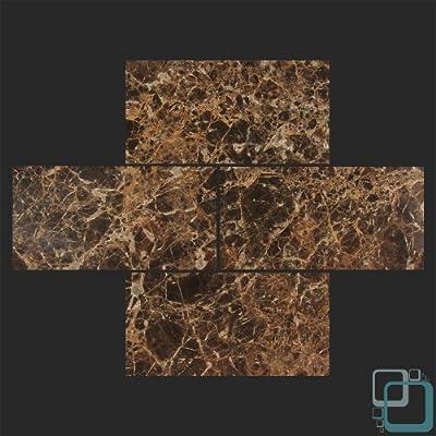 Dark Emperador 3x6 Polished Marble Subway Tile
