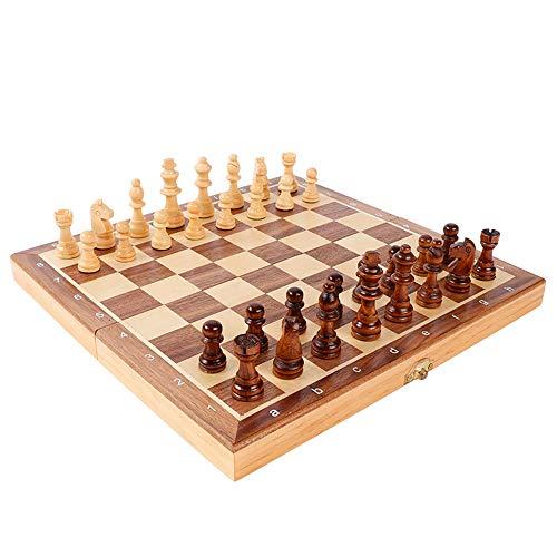 Icbly Portátil plegable magnético tablero de ajedrez de madera maciza Internacional de Ajedrez Juego de almacenamiento conjunto de juguete Juego de fiesta en casa, de viaje actividades al aire libre F
