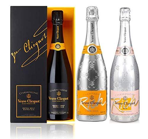 Veuve Clicquot Extra-Brut Champagner Trio Set mit Case X2, Rich und Rich Rosé