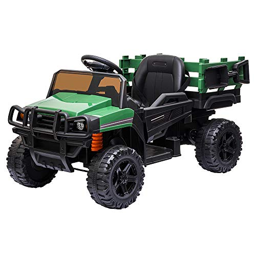 VALUE BOX Ride on Truck with Trailer, 2.4G Remote Control 12v Battery Electric Kids Toddler Motorized Vehicles Toy Car w/ 2 Speed, Music, seat Belts, LED Lights and Realistic Horn (Green)