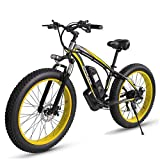 CHJ 26 Inch Snow Bike, 48V 1000W Electric Mountain Bike, 17.5AH Lithium Moped, 4.0 Fat Tire Bike/Hard Tail Bike/Adult Off-Road Men and Women,A