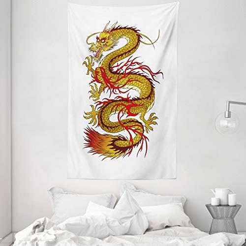 ABAKUHAUS Giapponese di Dragon Tappeto da Parete e Copriletto, Fiery Carattere, Colori Chiari Non sbiadiscono, 140 x 230 cm, Senape Vermilion Brown