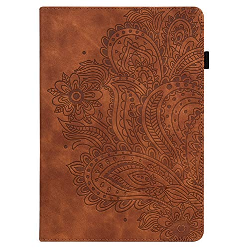 C/N DodoBuy Case for Lenovo Tab M8 8 Inch HD Tablet, Embossed Peacock Flower Magnetic Flip Folio Smart Cover Wallet PU Leather Stand Card Slots Holder - Brown