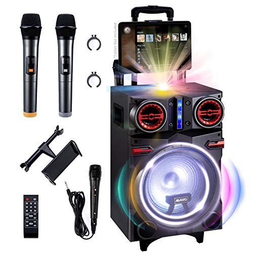 """ABRATO Karaoke Machine for Adults with LED Disco Light Ball, 10"""" Subwoofer & Dual 3"""" Tweeter Bluetooth Speaker, 3 Bonus Microphones (2 Wireless & 1 Wired), Ideal Birthday Gift for Boys & Girls"""