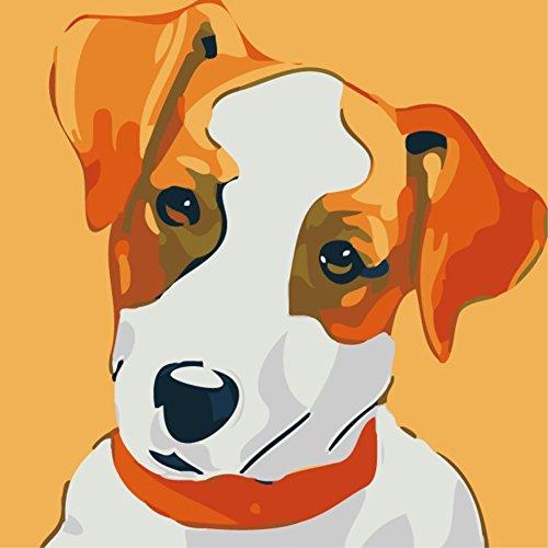 YEESAM ART Pintura por números para niños, vista de perro a color, 25 x 25 cm, con marco, listo para colgar