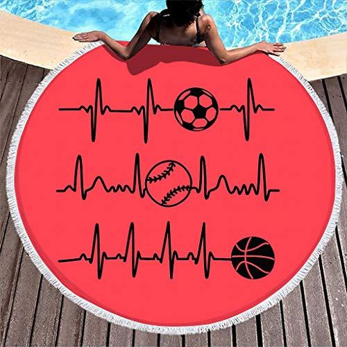 Toalla de playa redonda EKG de fútbol, baloncesto, toalla de playa, manta de picnic, para mujer, niños, piscina, playa, microfibra, toalla de mano, alfombra con flecos, color blanco, 150 cm