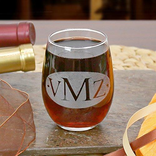 Personalized Direct Weinglas ohne Stiel, Monogramm
