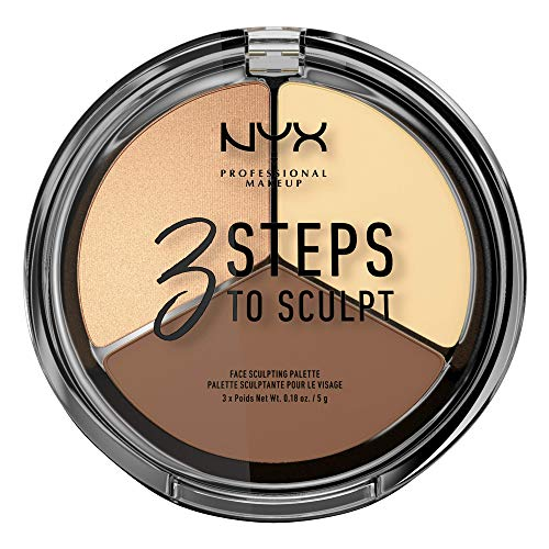 NYX Professional Makeup 3 Steps to Sculpt Face Sculpting Palette- Gesichts-Puder zum definieren, konturieren und highlighten, 3 Nuancen, 15 g, Light 02