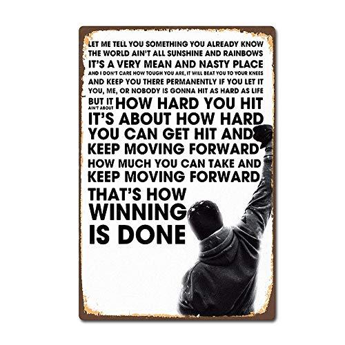 SIGNCHAT Rocky Balboa Classic Boxing Moive Film Vintage Retro Blechschild 20,3 x 30,5 cm
