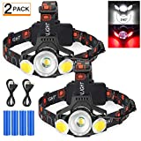 2020 Newest Rechargeable LED Headlamp, 2 Pack 10000 Lumen Super Bright Zoomable Headlight, 4 Modes USB Recharge Flashlight, Waterproof Head Lights with Red Light for Camping Hiking Outdoors