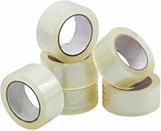 Packing Tape - Clear, 6 Rolls (60m x 50mm per roll), Thick and Strong