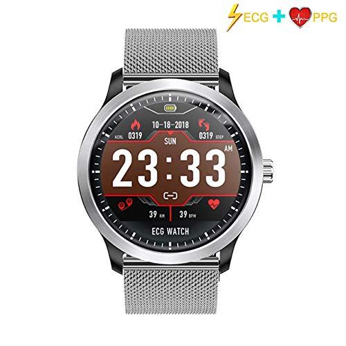 KKMRSL Smart Watch,Intelligente Uhr EKG & Herzfrequenzanzeige Schlafmonitor 3D UI Fitness Tracker Stahlband Armband Smart Watch Geeignet