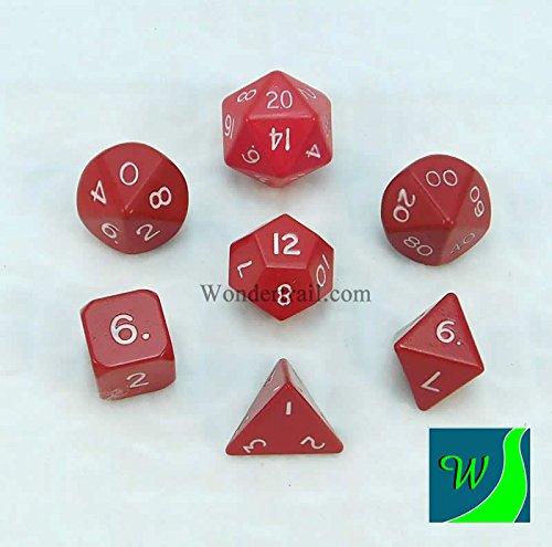 Red Hue Dwarven Metal Dice 16mm 7 Piece Set Crystal Caste