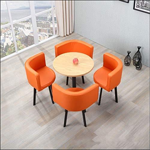 TXOZ-Q Vintage Ronda de negociaciones de Casa de los Cátedra de 5 Piezas de combinación Simple Moderna recepción del Cuero del Ocio Sofá Café sede de la Oficina Salón (Color : Naranja)