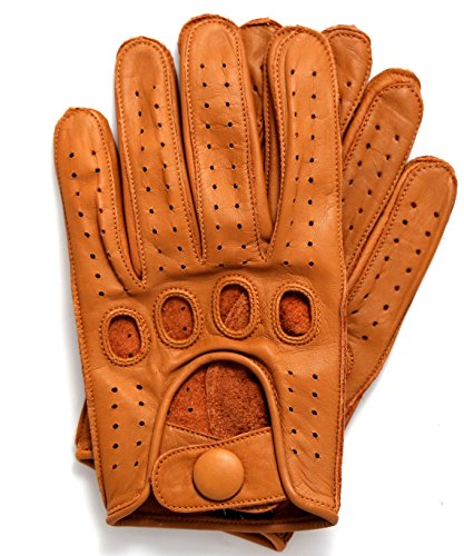 Riparo Genuine Leather Reverse Stitched Driving Gloves (Small, Cognac)
