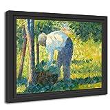 Printed Paintings Marco Americano (80x60cm): Georges Seurat - El Jardinero