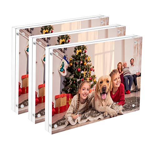NIUBEE 8x10 Acrylic Photo Frame 3 Pack, Double Sided Magnetic Picture Frame with Retail Gift Box