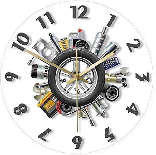 Reloj De Pared Herramienta De Coche Pimp Your Ride Reloj De Pared Mecánico De Reparación De Coches Moderno Sin Tictac Reloj De Pared Decoración De Alcantarilla Regalo para Hombres 30X30Cm