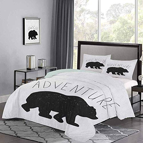 Yoyon Quilt Cover Black Silhouette of a Wild Bear Zoo Animal Nature Passion Hipster Design Lightweight Comforter Case Set Clean, Sleek, and Modern Look Charcoal Grey White