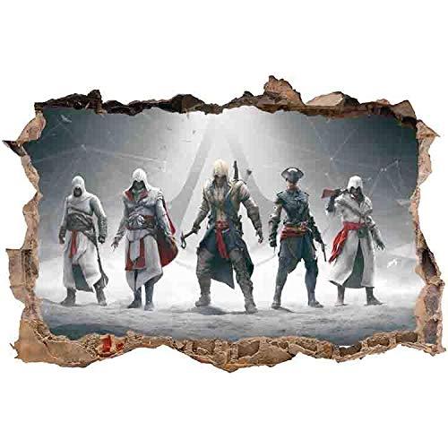 Effekt Wandtattoo- Assassin's Creed Anime 3D Schlafzimmer Dekoration 60X90Cm/Aufkleber/Selbstklebendes Wandbild/Wandsticker/Wanddurchbruch/Tattoo-B_80*120CM