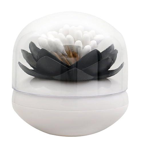 Boîte de rangement pour cotons-tiges en forme de lotus - Stockage de cotons-tiges ou cure-dents, noir, Taille unique
