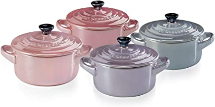 Le Creuset Mini Cocottes Set of 4, Stoneware, 8 oz, Metallics Rosé