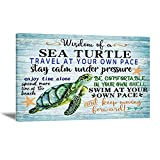 Sea Turtle Bathroom Wall Art Vintage Sea Turtle Paintings Blue Sea Turtle Canvas Wall Art for Living Room Ocean Theme Turtle Picture Artwork for Home Decor Motivational Quotes Wall Art Unframed