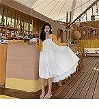 Zzx Nueva Falda Femenina Blanco Suspender Falda 2021 Nuevo Femenino Gentle Viento Blanco Suspender Falda Stallo Naranja Primera Falda Falda Forest French Niche Vestido (Color : White, Size : 1XL)
