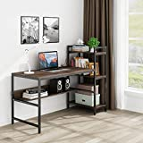 Tower Computer Desk with 4 Storage Shelves- 47.2 inch Writing Study Table with Bookshelves Modern Study Desk Stable Student Desk for Small Space Steel Frame & Wood Desk Home Office Workstation –Walnut