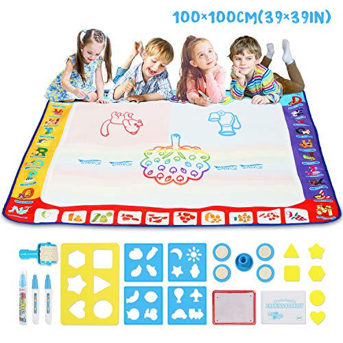 """Aqua Magic Doodle Drawing Mat, TOYCRAZ Water Drawing Coloring Mat (40"""" x 40"""") Reusable Watercolor Writing Painting Board Educational Toys Gifts for Kids Toddlers 3 4 5 6 7 8 Years Old"""