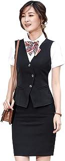 KUUQA ベスト レディース 事務服 ビジネス OL調 制服 ポケット付き おしゃれ 洗える 通勤 ベスト 単品 会社や就活など