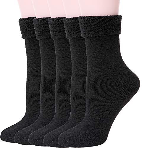 Womens Wool Fuzzy Socks Cabin Thick Heavy Thermal Warm Winter Crew Socks For Cold Weather 5 Pack (Black, Turn Cuff)