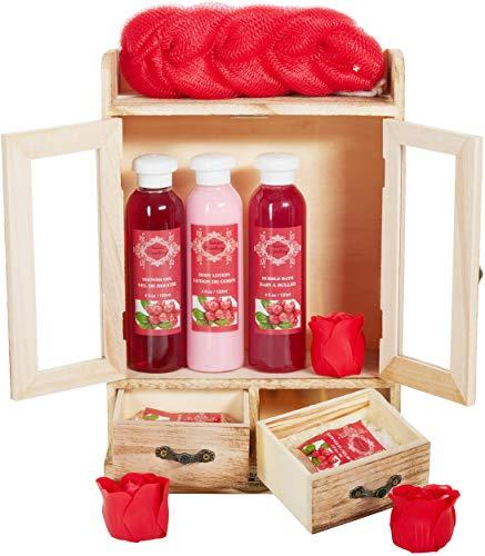 BRUBAKER Cosmetics set beauty da bagno e igiene personale ossicocco in comodo armadietto in legno