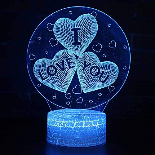 3D lampe Herz Formen Nachtlichter,dimmbar 16 Farben ändern,illusion deko lampe,Remote Control Touch Schalter USB akku nachttisch lampe,schlafzimmer Romantische Valentinstag Liebhaber Geschenk