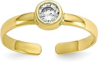 10K Yellow Gold CZ Cubic Zirconia Toe Ring