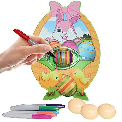Zller2587 DecoracióN De Huevos De Pascua, Pintura De Huevos De Pascua, MáQuina para Decorar Huevos con Spinner, Incluye Rotuladores En 8 Colores, Regalos De Bricolaje para Pascua Y DíA del NiñO