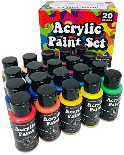 Acrylic Paint Set Premium 20 Colors Paint Acrylic   Art Paints for Canvas and Outdoor Painting 2oz 60ml Bottles