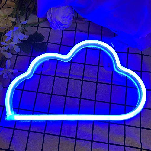 SYLHLW Neon Light Sign, Cloud LED Neon Lamps Neon Wall Light, Battery or USB Powered Neon Night Lights, Deco of Children's Room, Bedroom, Living Room, Party Wedding and Christmas (Blue)