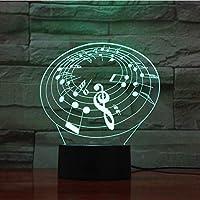 3D LED錯視ランプ 音符Usbナイトライト多色Rgb男の子子供キッズギフトタッチセンサー雰囲気テーブルランプベッドサイド
