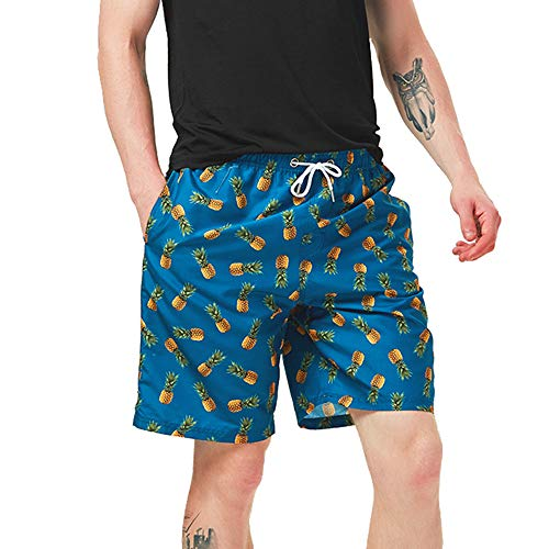 """FREDRM Mens Swim Trunks Long 9"""" Quick Dry Board Shorts with Mesh Lining Swimwear Bathing Suits (Pineapple Dark Blue, S)"""