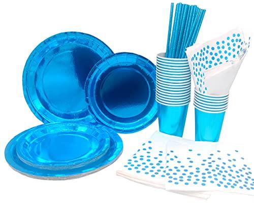 INHEMING 99 Piezas Vajilla Desechable Fiesta Azul,Incluye Platos de Papel Tazas Servilletas y Pajitas para Boda Picnic Camping Navidad Baby Shower Aniversario Fiesta Suministros (25 Invitados)