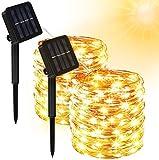 Solar Lichterkette Außen, Molbory 2 Stück 200 LED Lichterkette Mit 20M Kupferdraht 13 Modi Warmweiß Dekorative Lichterkette Wasserfest String...