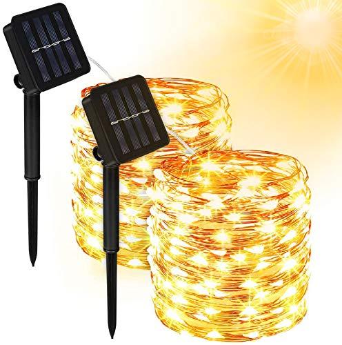 Solar Lichterkette Außen, Molbory 2 Stück 200 LED Lichterkette Mit 20M Kupferdraht 13 Modi Warmweiß Dekorative Lichterkette Wasserfest String Beleuchtung Ambiente für Garten, Schlafzimmer, Hochzeit