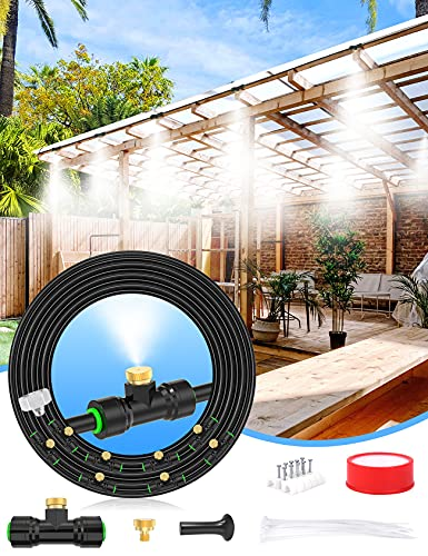 misters Lekit Misters for Outside Patio 27.5FT(8.4M)+8 Brass Mist Nozzles+a Brass Adapter(3/4