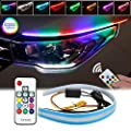 LEDCARE Car Headlight Surface Strip Tube Light, RGB Multi Color 24 Inch Flexible Waterproof LED Daytime Running Light Strip Neon Turn Signal Lights Switchback Light (No Disassembling Needed) 2-Pack