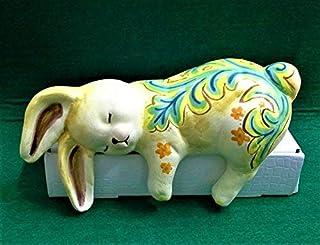 Le Ceramiche Del Re, Coniglio Decorativo, Coniglio Soprammobile in Ceramica con Decorazione Maiolica Siciliana